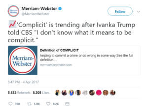 Merriam-Webster Tweet with definition of complicit